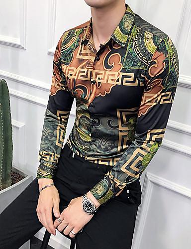 billige Trendy topper-EU / USA størrelse Skjorte Herre - Geometrisk / Tribal, Trykt mønster Grønn / Langermet