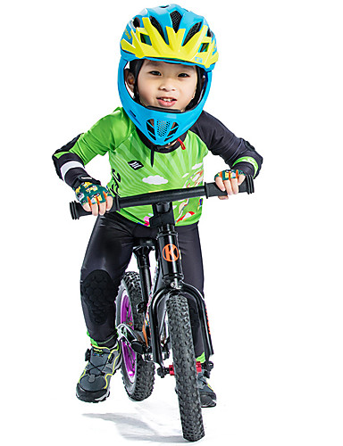 cheap Cycling Clothing-SANTIC Boys' Long Sleeve Cycling Jersey with Tights - Green Cartoon Bike Padded Shorts / Chamois Clothing Suit UV Resistant Breathable Quick Dry Sports Polyester Spandex Silicone Cartoon Mountain