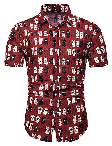voordelige Herenoverhemden-Heren Print Overhemd Geometrisch / Grafisch / Cartoon Slank blauw
