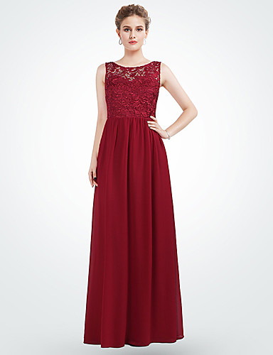 A-Line Jewel Neck Maxi Chiffon Bridesmaid Dress with Pattern / Print by LAN TING Express