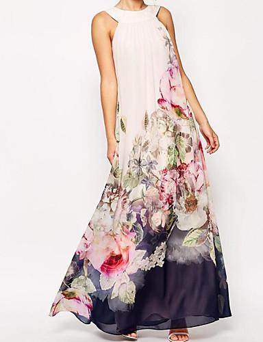 voordelige Maxi-jurken-Dames Boho Street chic Ruimvallend Wijd uitlopend Jurk - Effen, Patchwork  Print Strakke ronde hals Maxi