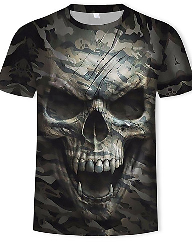 cheap Men's Tees & Tank Tops-Men's Cotton T-shirt - 3D / Skull / Camo / Camouflage Print Round Neck Army Green XL