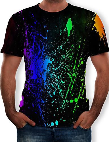 abordables Vêtements Homme-Tee-shirt Homme, Arc-en-ciel Imprimé Col Arrondi Noir