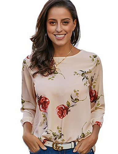 abordables Camisas y Camisetas para Mujer-Mujer Camisa Floral Verde Trébol L