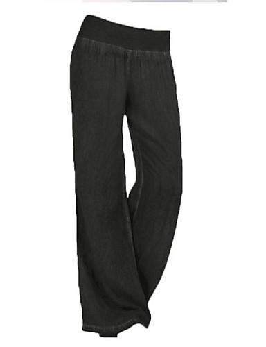 Luminosa Per Donna Essenziale A Zampa Pantaloni - Tinta Unita Blu #07265134 Comodo E Facile Da Indossare