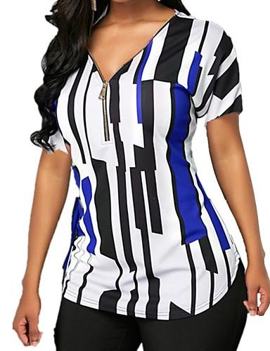 billige Dametopper-Bomull V-hals T-skjorte Dame - Stripet, Trykt mønster Lilla