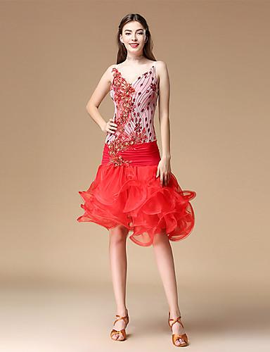 d0f02bfe3560 Λάτιν Χοροί Φορέματα Γυναικεία Επίδοση Πολυεστέρας Ταφτάς Σχέδιο / Στάμπα /  Κυματοειδές Αμάνικο Φόρεμα