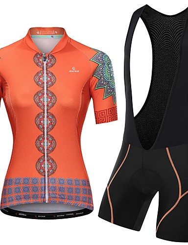 cheap Cycling Clothing-Malciklo Women's Short Sleeve Cycling Jersey with Bib Shorts - Orange+White Orange / Black Floral Botanical Bike Clothing Suit Breathable Quick Dry Reflective Strips Sweat-wicking Sports Floral