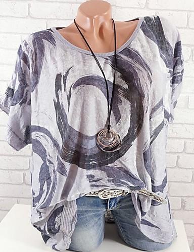 povoljno Ženske majice-Veći konfekcijski brojevi Majica s rukavima Žene Pamuk Jednobojni / Cvjetni print Širok kroj, Print Fuksija