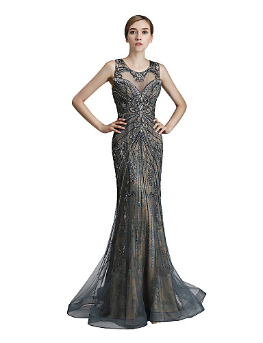 cheap Designers' Originals-Mermaid / Trumpet Jewel Neck Sweep / Brush Train Lace / Tulle Dress with Beading / Sequin by JUDY&JULIA