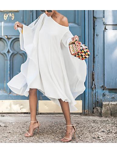 dames knielange swing jurk wit geel blauw s m l xl