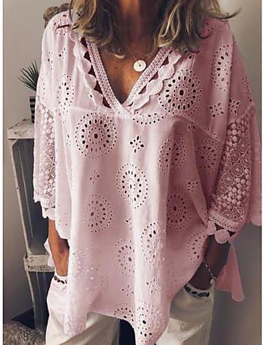 povoljno Ženske majice-Veći konfekcijski brojevi Majica Žene Ležerno / za svaki dan Jednobojni V izrez Širok kroj, Čipka Obala