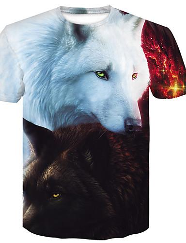 cheap Men's Tees & Tank Tops-Men's Daily Club Weekend Basic Slim T-shirt - Animal Wolf, Print Round Neck White XXL / Short Sleeve / Summer