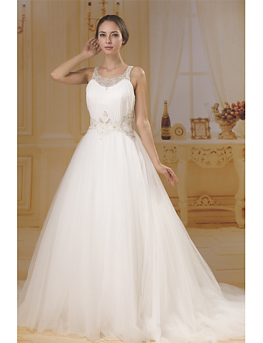 cheap Wedding Dresses-A-Line Bateau Neck Chapel Train Chiffon / Tulle Made-To-Measure Wedding Dresses with Beading / Ruched by ANGELAG