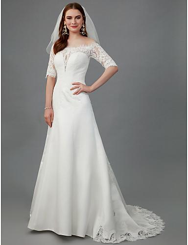 A-kroj Spuštena ramena Srednji šlep Saten Izrađene su mjere za vjenčanja s Čipka po LAN TING BRIDE®
