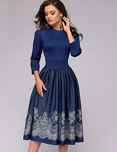 cheap Women's Dresses-Women's Basic A Line Dress - Floral Print Blue XL XXL XXXL