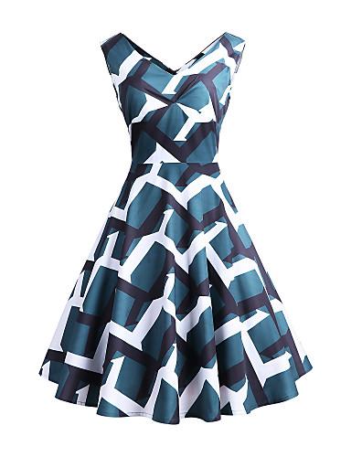 tanie W stylu vintage-Damskie Vintage Moda miejska Linia A Pochwa Swing Sukienka - Geometric Shape, Z marszczeniami Pofałdowany Nad kolano