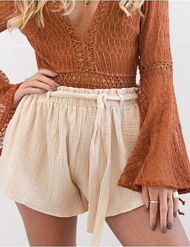 ราคาถูก กางเกงขาสั้น-สำหรับผู้หญิง Street Chic กางเกงขาสั้น กางเกง - สีพื้น สีแดงชมพู ผ้าขนสัตว์สีธรรมชาติ M L XL