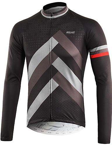 b48e0dea376 Arsuxeo Men's Long Sleeve Cycling Jersey Grey Bike Top Back Pocket  Sweat-wicking Sports Polyster Mountain Bike MTB Road Bike Cycling Clothing  Apparel ...