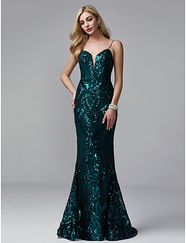 c0b52a1840 Mermaid   Trumpet Spaghetti Strap Sweep   Brush Train Sequined Sparkle    Shine Formal Evening Dress with Sequin by TS Couture®