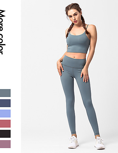 fccc243e48 Women's Strappy Yoga Suit Sports Solid Color High Rise Tights Bra Top Yoga  Running Fitness Sleeveless Activewear Breathable Quick Dry Butt Lift Tummy  ...