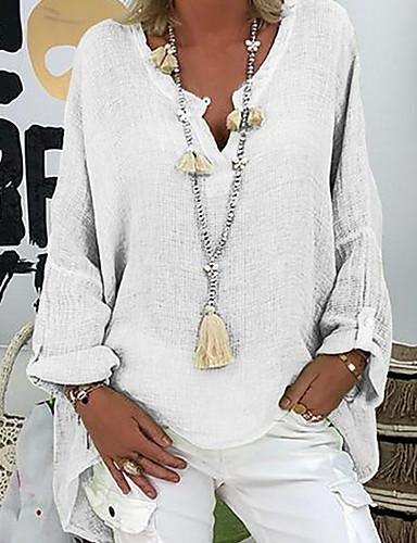 billige Dametopper-Løstsittende V-hals Store størrelser Bluse Dame - Ensfarget Svart