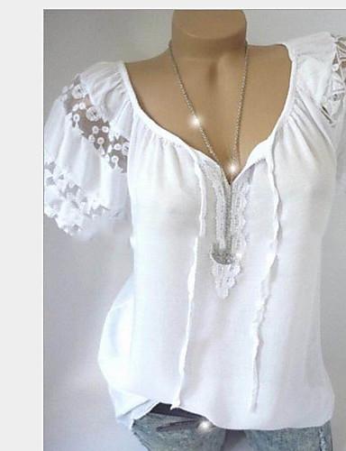 fb2b45a86 abordables Camisas y Camisetas para Mujer-Mujer Camiseta Un Color Blanco XL