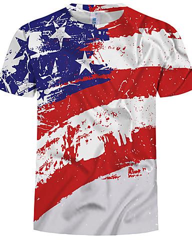 abordables Jour de l'Indépendance-Tee-shirt Taille EU / US Homme, Bloc de Couleur Imprimé Col Arrondi Mince Arc-en-ciel XL / Eté