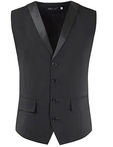 voordelige Herenblazers & kostuums-Heren Vest V-hals Polyester Zwart / Grijs / Slank