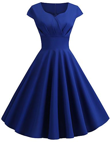 hesapli Vintage Kraliçesi-Kadın's Dışarı Çıkma Vintage 1950'ler Çan Elbise - Solid V Yaka Diz-boyu