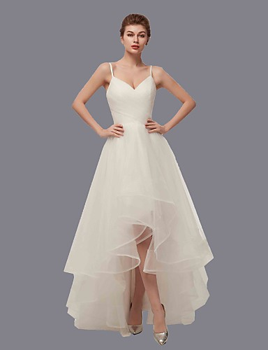 Corte en A Escote en Pico Asimétrica Tul Vestidos de novia hechos a medida con Recogido Lateral por LAN TING Express