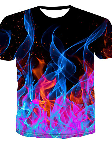 cheap Men's New Ins-Men's T-shirt - 3D Print Round Neck Black XXXXL