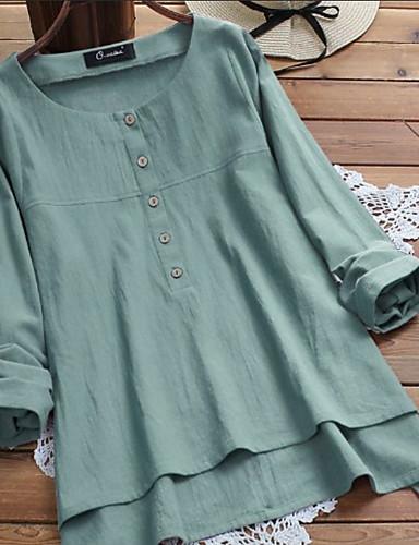 abordables Camisas y Camisetas para Mujer-Mujer Remache / Retazos Camisa Un Color Wine XXXL