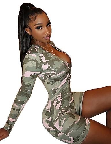 abordables Hauts pour Femmes-Femme Sophistiqué Vert Véronèse Barboteuse, camouflage Imprimé M L XL