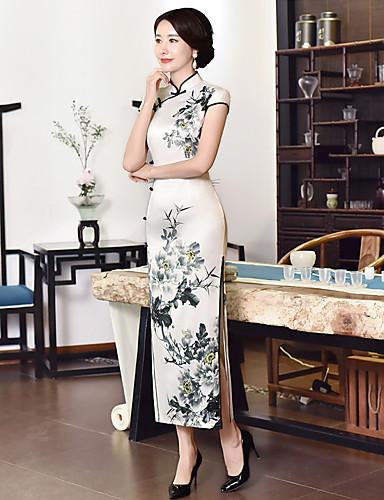 0defdca88efe Ενηλίκων Γυναικεία Κινέζικο Στυλ Σφήκα με σφήκα Cheongsam Για Πάρτι  Αρραβώνων Πάρτι πριν το Γάμο Ελαστίνη Μέχρι τον αστράγαλο Cheongsam