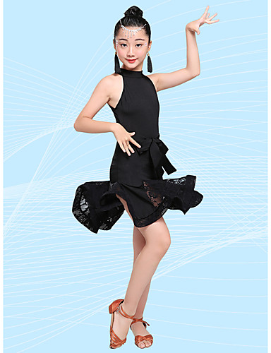 eaf455e8f74e Latin Dance / Kids' Dancewear Outfits Girls' Performance Milk Fiber Ruching  Sleeveless High Skirts / Leotard / Onesie