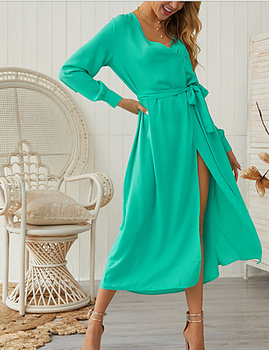 67bb19f717e5 Χαμηλού Κόστους Γυναικεία Φορέματα-γυναικείο maxi λεπτό φόρεμα γραμμή v  λαιμός μοβ κόκκινο μαύρο s m l