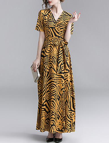 billige Kjoler-Dame Sofistikert Elegant A-linje Swing Kjole - Leopard, Lapper Trykt mønster Maksi