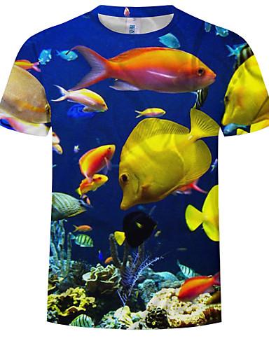 abordables Vêtements Homme-Tee-shirt Taille EU / US Homme, 3D / Animal Imprimé Col Arrondi Bleu XXXXL