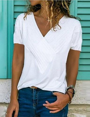 abordables Hauts pour Femme-Tee-shirt Femme, Couleur Pleine Plissé / Mosaïque Col en V Rose Claire