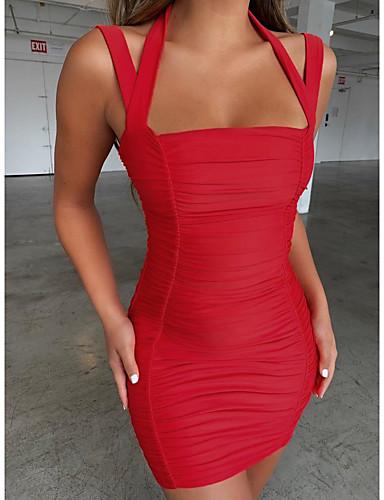 abordables Robes Femme-Femme Basique Elégant Mini Moulante Robe - Multirang, Couleur Pleine Rose Claire Rouge S M L Sans Manches