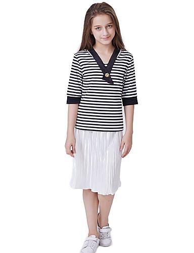 Děti Dívčí Aktivní / Základní Proužky Plisé Poloviční rukáv Standardní Bavlna Sady oblečení Černá