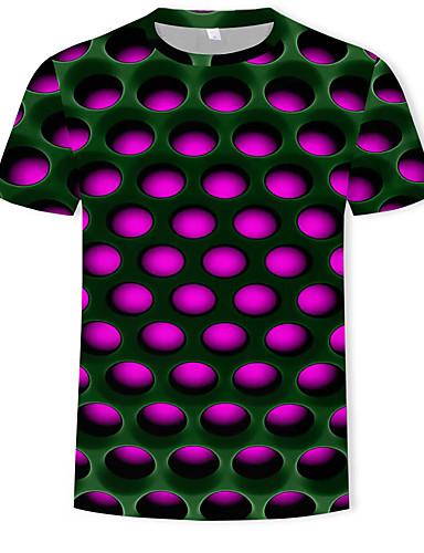 voordelige Heren T-shirts & tanktops-Heren Street chic / overdreven Print T-shirt Kleurenblok / 3D Ronde hals Paars / Korte mouw