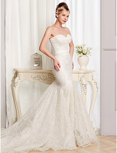 cheap Reception Dresses-Mermaid / Trumpet Strapless Court Train Lace / Tulle Made-To-Measure Wedding Dresses with Lace by LAN TING BRIDE®