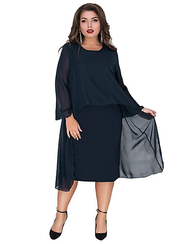 abordables Robes Femme-Femme Elégant Midi Gaine Robe - Multirang Mosaïque, Couleur Pleine Bleu Vin Bleu royal XXXXL XXXXXL XXXXXXL Manches Longues