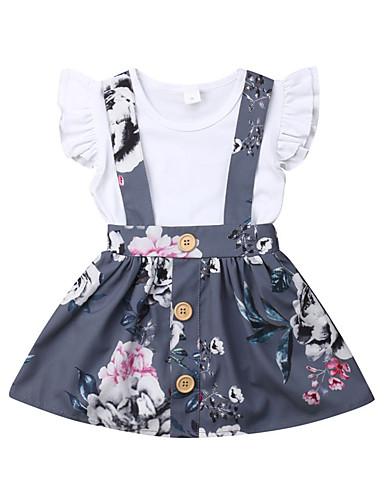 Dítě Dívčí Vintage / Aktivní Květinový Volány Krátký rukáv Standardní Bavlna Sady oblečení Šedá