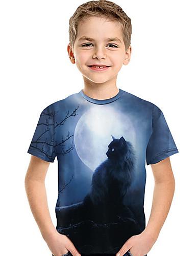 Bambino - Bambino (1-4 Anni) Da Ragazzo Attivo - Essenziale Con Stampe Con Stampe Manica Corta Poliestere - Elastene T-shirt Blu #07320692