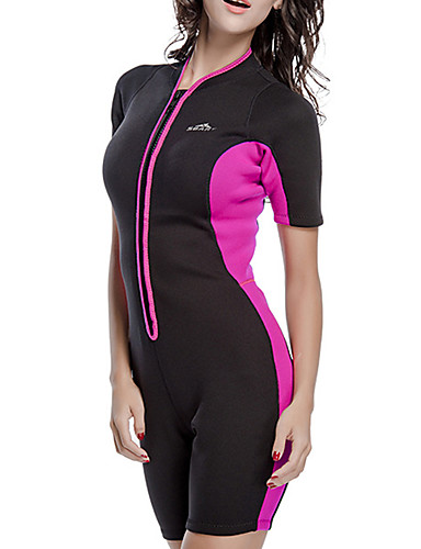 61214a596 SBART Women's Shorty Wetsuit 2mm Neoprene Diving Suit Waterproof Thermal /  Warm UV Sun Protection Short Sleeve Front Zip - Swimming Diving Surfing  Patchwork ...