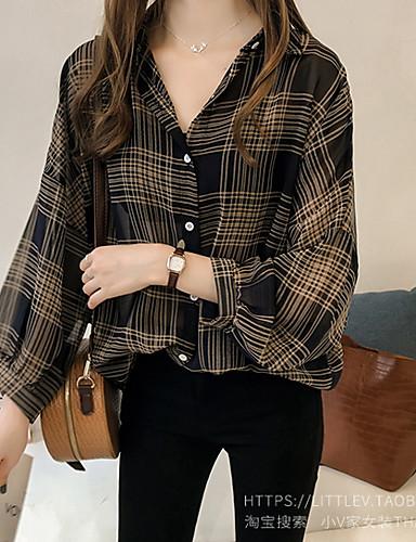 povoljno Ženske majice-Veći konfekcijski brojevi Majica Žene Houndstooth Kragna košulje Širok kroj Crn