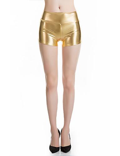 billige Tights til damer-Dame Gatemote / Punk & Gotisk Chinos / Shorts Bukser - Ensfarget / Multi-farge Paljetter Lav Midje Svart Lilla Rosa M L XL
